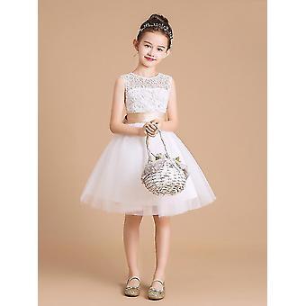 Vestido de renda de menina bonito malha tutu batismo tamanho do vestido 5-6T