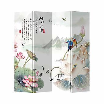 Hieno aasialainen eläminen kiinalainen itämainen huoneenjakaja taittuva yksityisyysnäyttö 4 paneelia W160xH180cm lampi eläinten kanssa