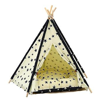 Cotton Canvas Pet Tent Cat and Dog Bed with Cushion, Specification: Small 40×40×50cm(Beige Navy