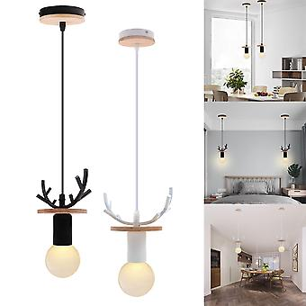 Nordic Simple Wood Antler Pendant Lights Led Hanging Lighting Lamp Fixture black body
