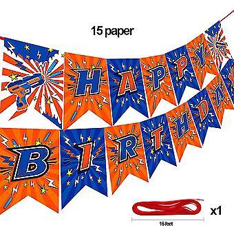 Dart War Feliz Banner cumpleaños para Nerf Series Blasters Para (hb Banner)