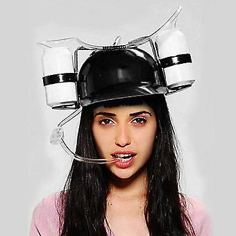 Beer Soda Drinks Guzzler Helmet & Drinking Hat Straw Hat Black - Party Hat