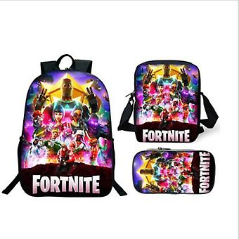 Hywell Fortnite Backpack Lunch Bag Stationery Bagthree-piece Student Gift