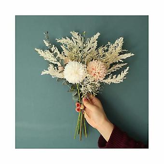 Korean Chrysanthemum Ball Holding Green Plant Table Silk Flower Simulation Artificial Flower Flower Bouquet di nozze di fascia alta (polvere di pesca)