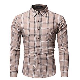 Yunyun Men's Button Down Casual Lattice Plaid Slim Fit Cotton Chemise à manches longues