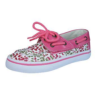 Sperry Bahama JR Childrens Girls Deck / Boat  Shoes - Gold Leopard