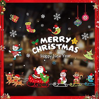 Winterdekoration, Fensterdekoration, Schneeflocken, Weihnachtsmann Fensterdekoration