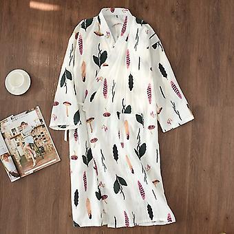 Japanese Kimono Bathrobe Nightgown Women Summer And Autumn Cotton Gauz