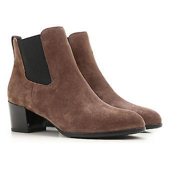 ホーガンのハイヒール茶色のスエード革でチェルシー ブーツ