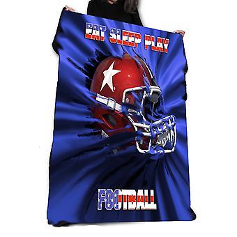 Wild star hearts - eat sleep play football - fleece / throw / tapestry