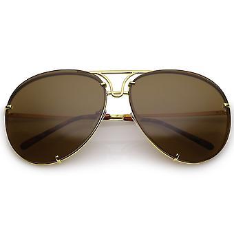 Oversize Rimless Metal Aviator Sunglasses Slim Arms Tinted Lens 68mm