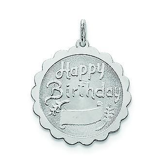 925 sterling sølv solid indgraveret laser ætset Happy Birthday Disc Charm-2,0 gram