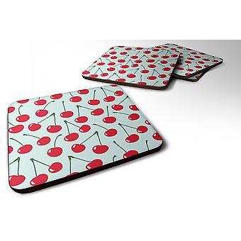 Carolines Treasures  BB5148FC Set of 4 Cherries on Blue Foam Coasters Set of 4