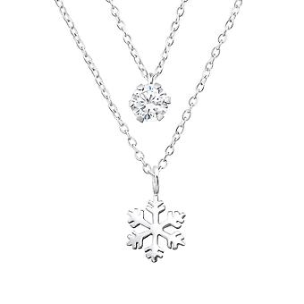 Snowflake Layered - 925 Sterling Silver Jewelled Necklaces - W33007x