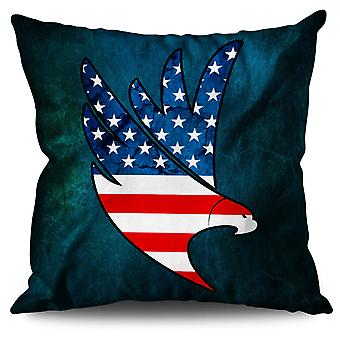 Eagle Flag Freedom Linen Cushion 30cm x 30cm | Wellcoda