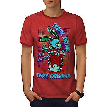 Blod Freak Bunny Zombie män Heather röd / RedRinger T-shirt | Wellcoda