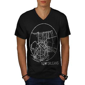 America New Orleans Men BlackV-Neck T-shirt | Wellcoda
