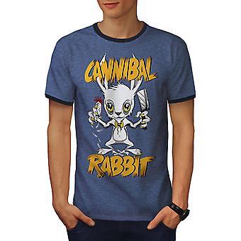 Cannibal Men Heather Blue / NavyRinger T-shirt | Wellcoda