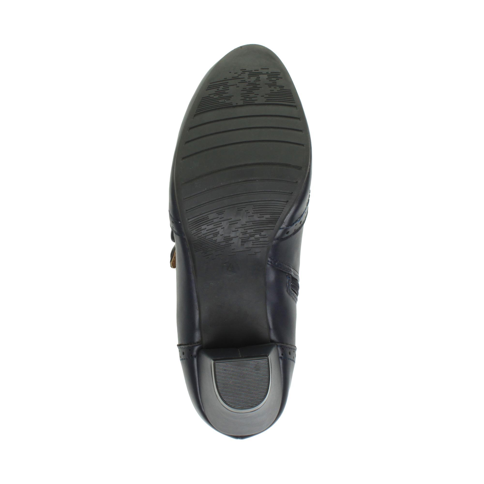 Ajvani Womens Mid Heel Buttons Zip Smart Brogue Ankle Shoe Boots Booties