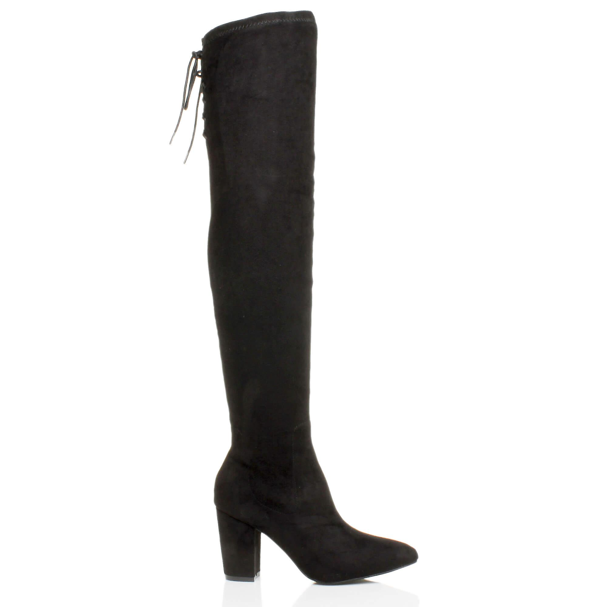 Ajvani womens high block heel stretch lace up riding over the knee boots