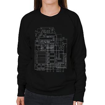 Commodore 64 Computer Schematic Women's Sweatshirt
