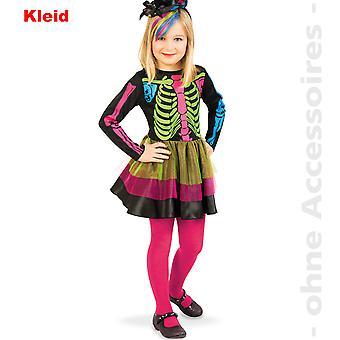 Skjelett drakt skjelett kappe farget barna kostyme dag død barns Halloween kostyme