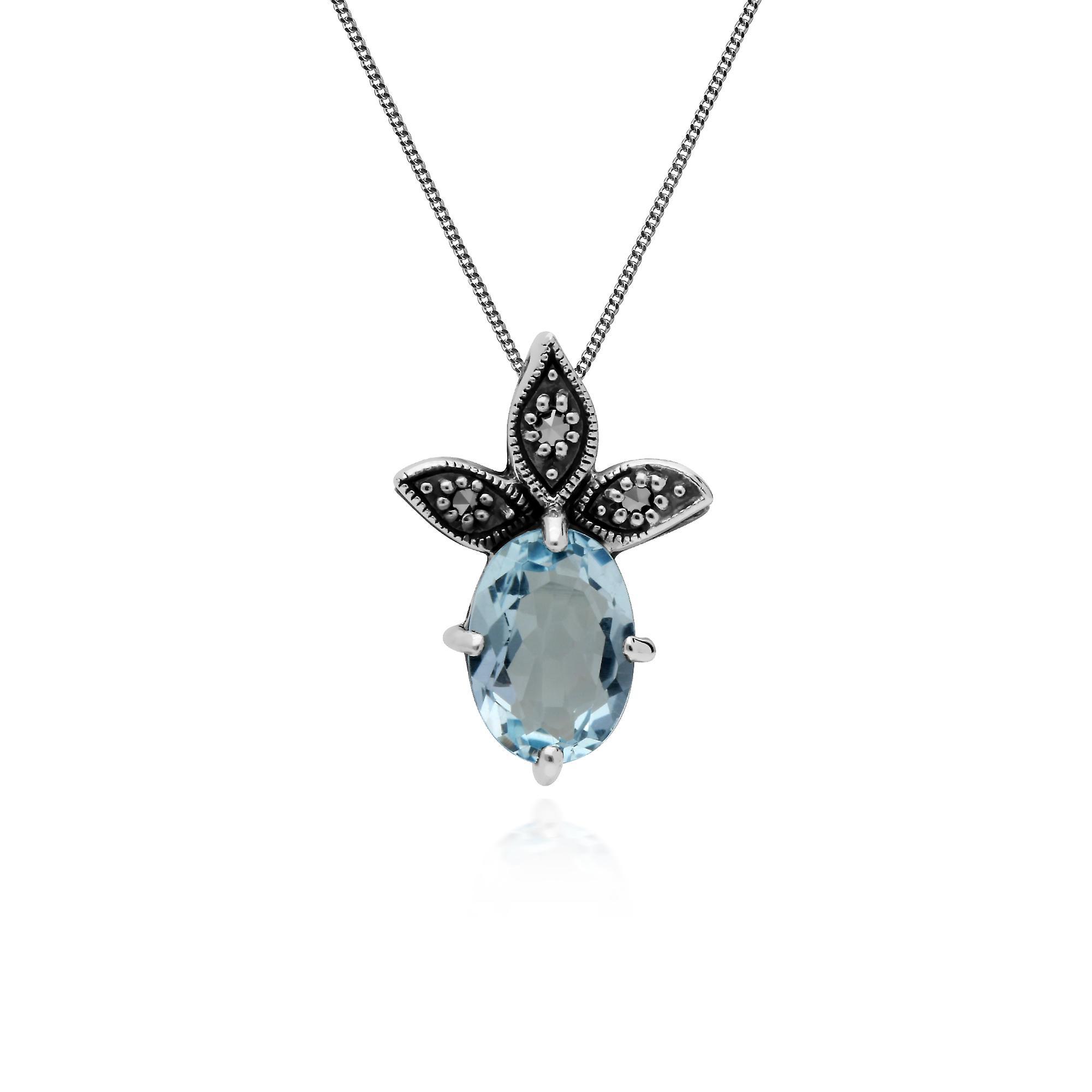 Gemondo Sterling Silver Blue Topaz & Marcasite November Pendant on 45cm Chain