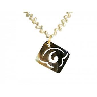 Collana - medaglione - perlina 7cm - madreperla - dorato - bronzo - grigio - bianco-