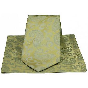 David Van Hagen luxe Paisley Tie and Handkerchief Set - goud