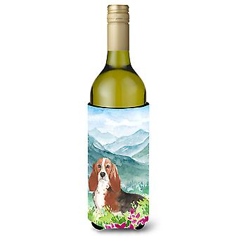 Mountain Flowers Basset Hound Wine Bottle Beverage Insulator Hugger