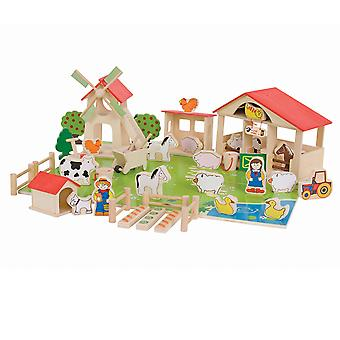 Bigjigs Toys Wooden Farm Playset Farmyard Animals Creative Roleplay Pretend Set