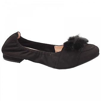 Perlato Suede Ballet Flat With Faux Fur Trim