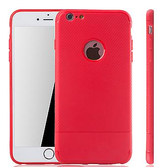 Apple iPhone 6 / 6s plus mobiele dekking Schutzcase koolstof optic bumper rood
