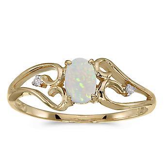 LXR 14k Gul Guld Oval Opal och Diamantring 0.19ct
