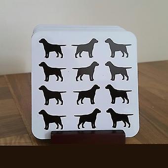Labrador zwart-wit Coaster Set van 4 Cork gesteund met houder