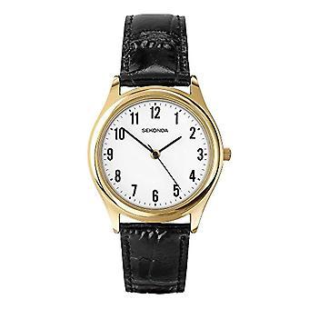 Sekonda pols horloge, analoog, Man, huid, zwart (1)