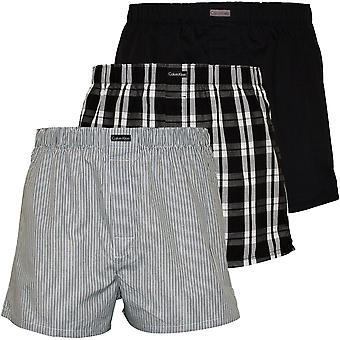 Calvin Klein 3-Pack pasek, Plaid idealna równina bokserki, czarny/szary