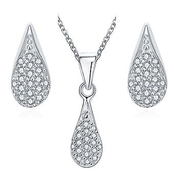 925 Sterling Silver Pave Teardrop Necklace & Matching Earring