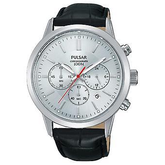 Пульсар | Мужская хронограф | Серебряный циферблат | Черный кожаный ремешок | PT3749X1 смотреть