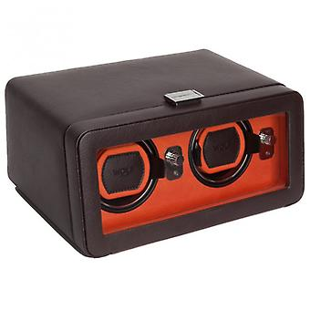 Wilk wzory Windsor Orange & Brown skórzana podwójna Watch Winder 2.5 z pokrywą