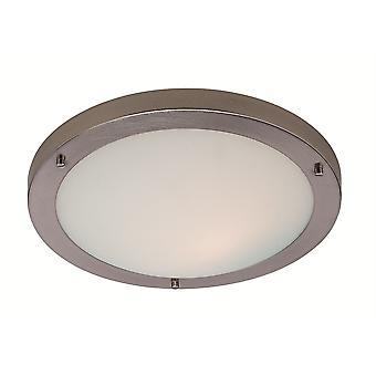 Firstlight-LED 24 lys flush loft lys børstet stål, Opal glas IP44-8611BS