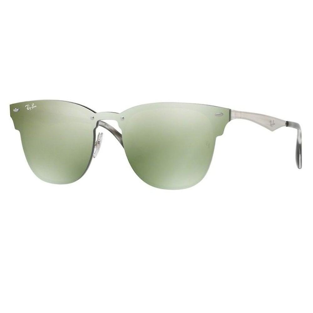 Ray Ban Sunglasses Rb3576n 042/30 Blaze Clubmaster Dark Green And Silver Mirrored Unisex Sunglasses