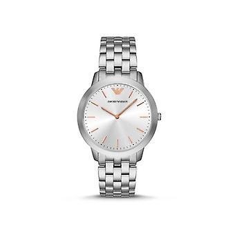 Emporio Armani Men's Watch Silver Bracelet Link Rose Gold Index Ar2484