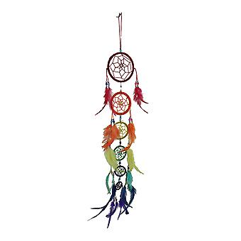 Rainbow Row 6 Tier Colorful Beaded Feather Dreamcatcher