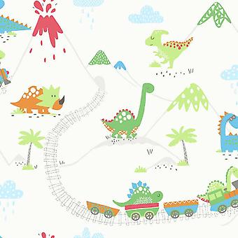 Jungs Girls Dinosaur Train Tappaper Volcanoes Green Blue Red Orange Colourful