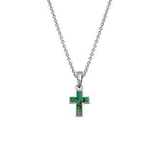 Ewige Sammlung Petite Green Paua Shell Silber Ton Kreuz Anhänger