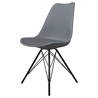 Fusion Living Eiffel Inspired Dark Grey Plastic Dining Chair With Black Metal Legs