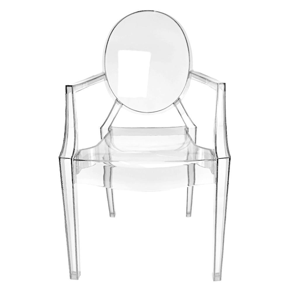 Fusion Living Crystal Clear Ghost Style Fauteuil Louis en plastique