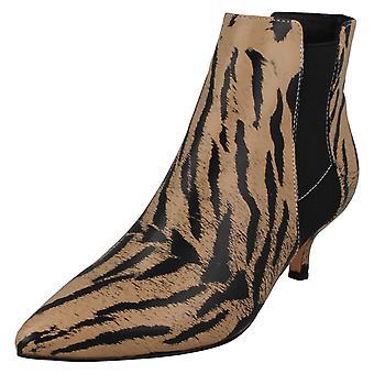 Ladies Spot On Animal Print Ankle Boots F51118