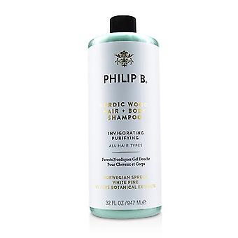 Păr nordic din lemn + Șampon corporal (purificatoare-toate tipurile de păr)-947ml/32oz